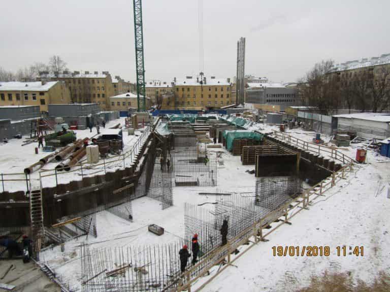 19.01.2018 - Вязка арматуры стен паркинга 2-й секции