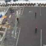 Установка опалубки перекрытия над паркингом 1-й секции