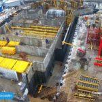 Возведение стен технического этажа и гидроизоляция наружных стен 1,2 и 3-й секций