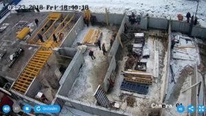Установка опалубки перекрытия над техническим этажом 1-й секции
