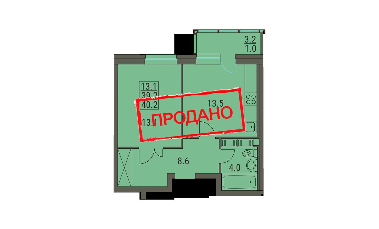 Евродвушка 40.2 м²