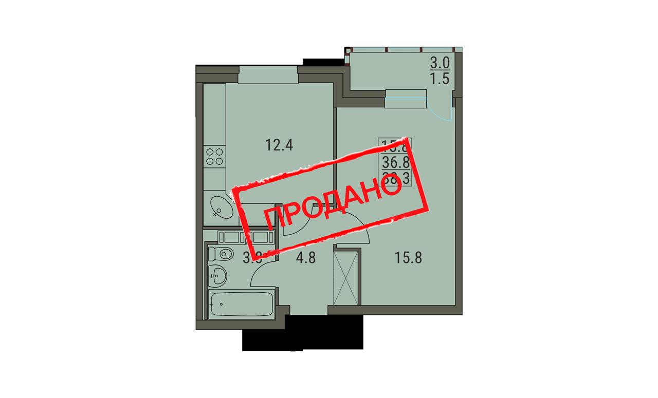 1 комнатная квартира 38.3 м² вариант 2