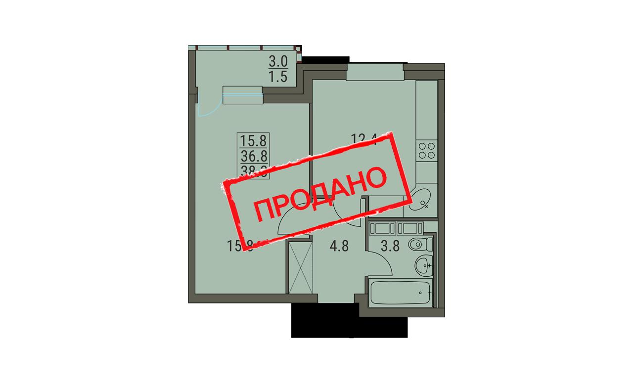 1 комнатная квартира 38.3 м² вариант 3