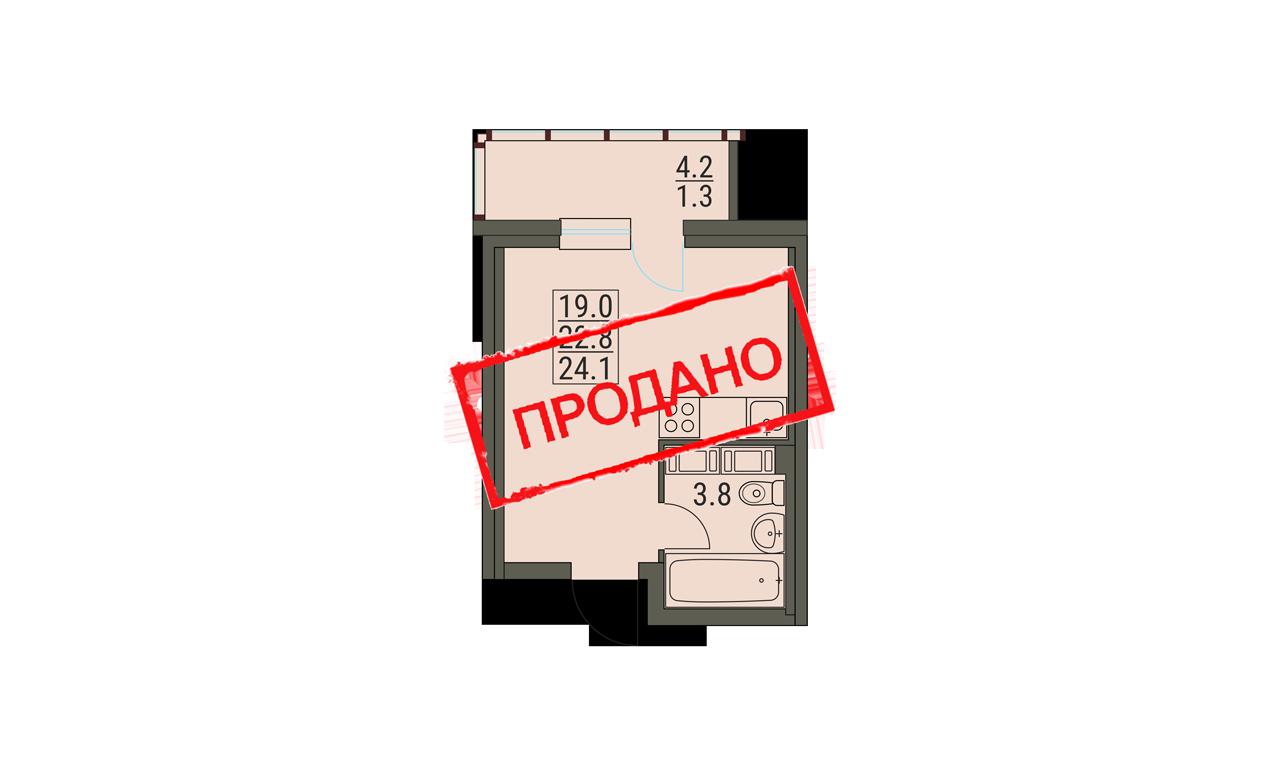 Студия 24.1 м²